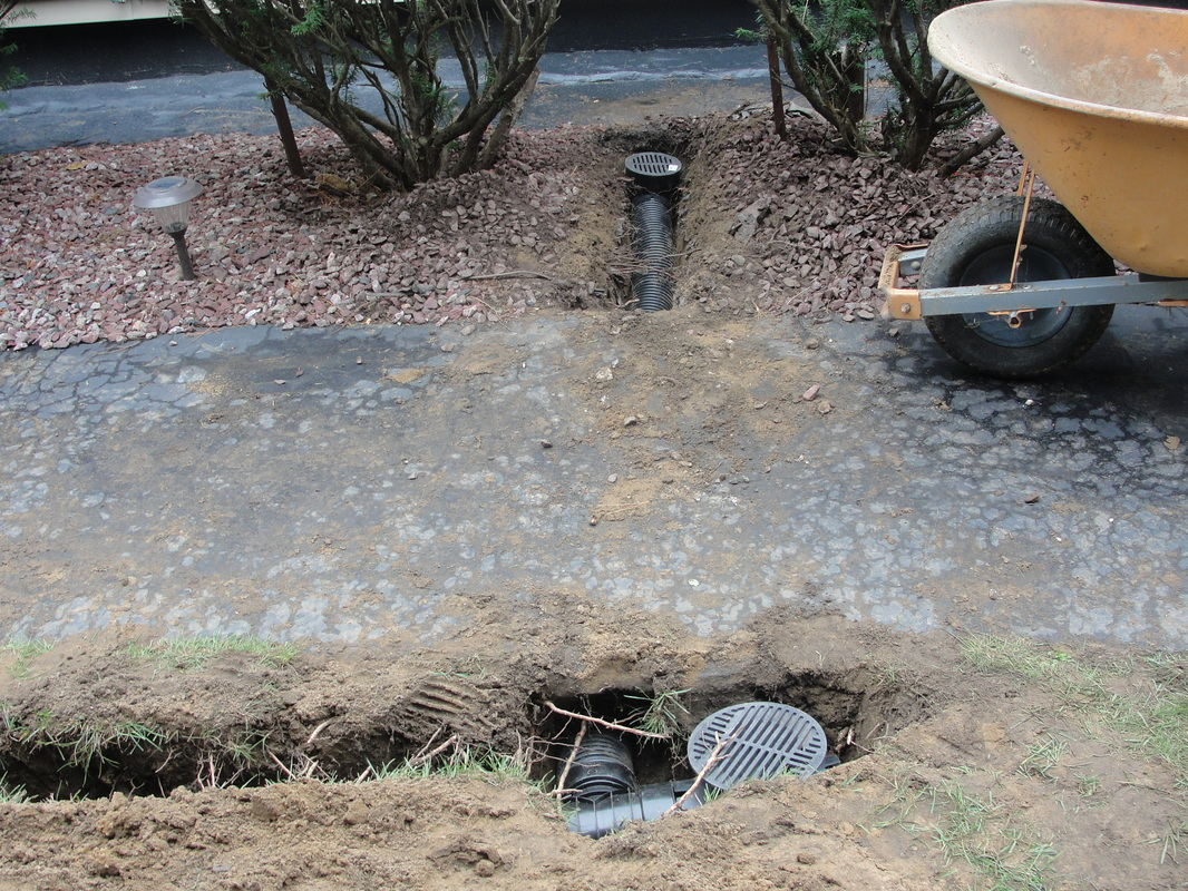 Picture Two Drainage Catch Basins Piped Underground
